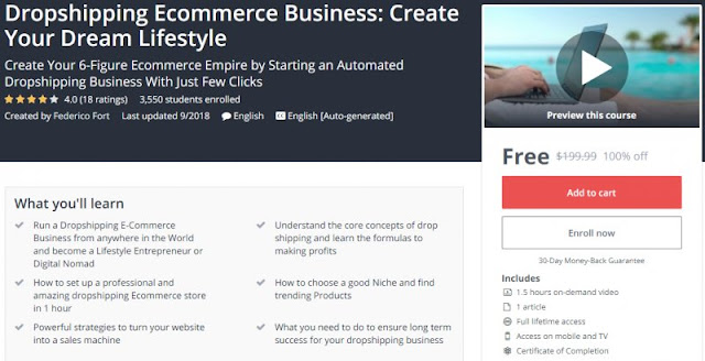 [100% Off] Dropshipping Ecommerce Business: Create Your Dream Lifestyle| Worth 199,99$