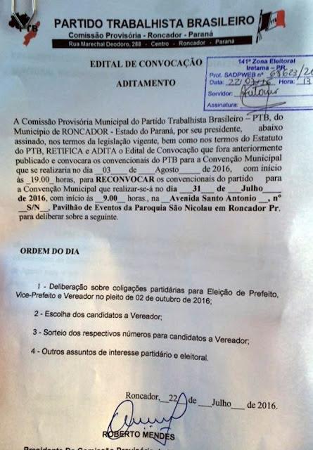 Roncador: PTB publica edital da sua Convenção Municipal