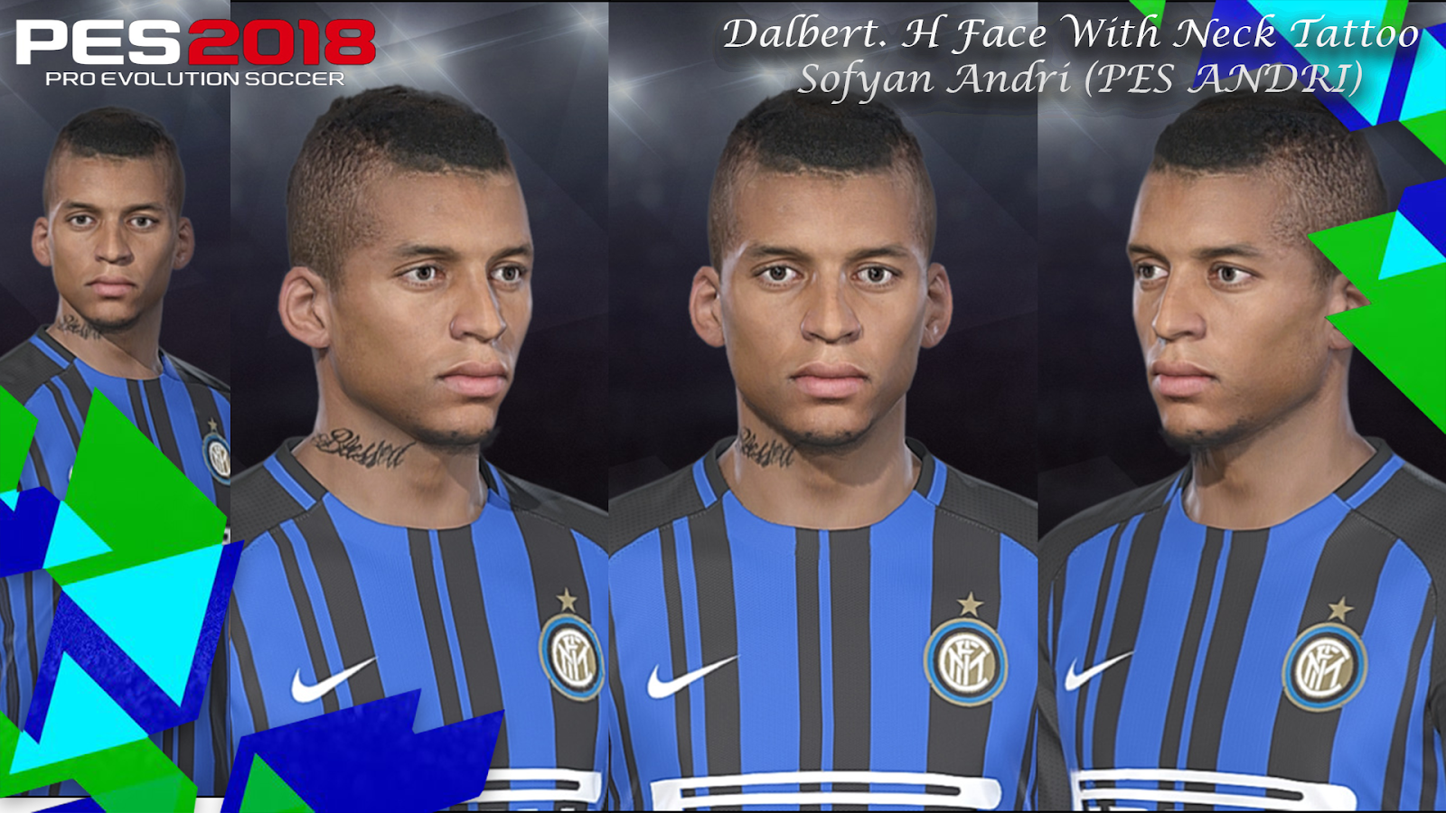 PES 2018 Dalbert. H Face With Neck Tattoo By Sofyan Andri