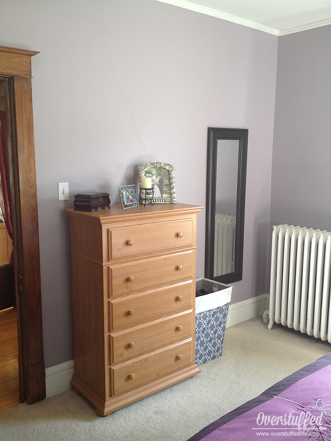 Repainted bedroom--Sherwin Williams Beguiling Mauve and Soulmate