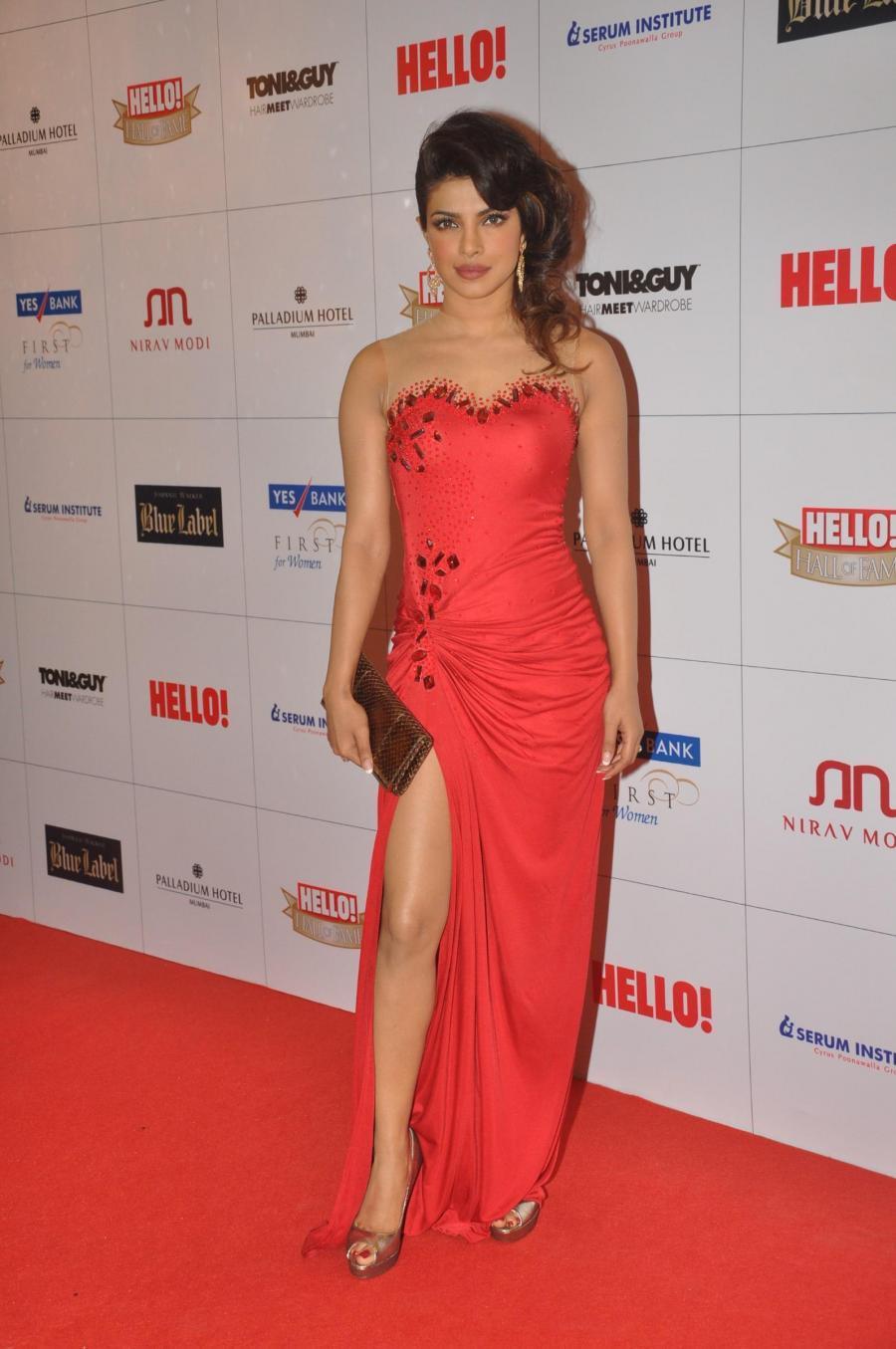 Priyanka Chopra Long Hair In Red Gown At Fame Award
