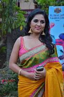 Actress Srushti Dange Latest Pos in Yellow Silk Saree at Saravanan Irukka Bayamaen Tamil Movie Press Meet  0004.jpg