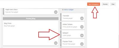 Mengatur posisi widget pada blog