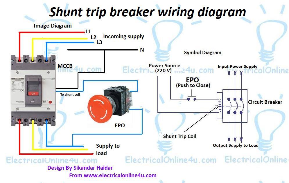 shunt trip breaker wiring diagram  electricalonline4u