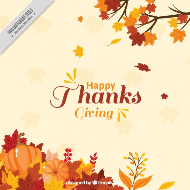 Thanksgiving background with leaves decoration Free Vector