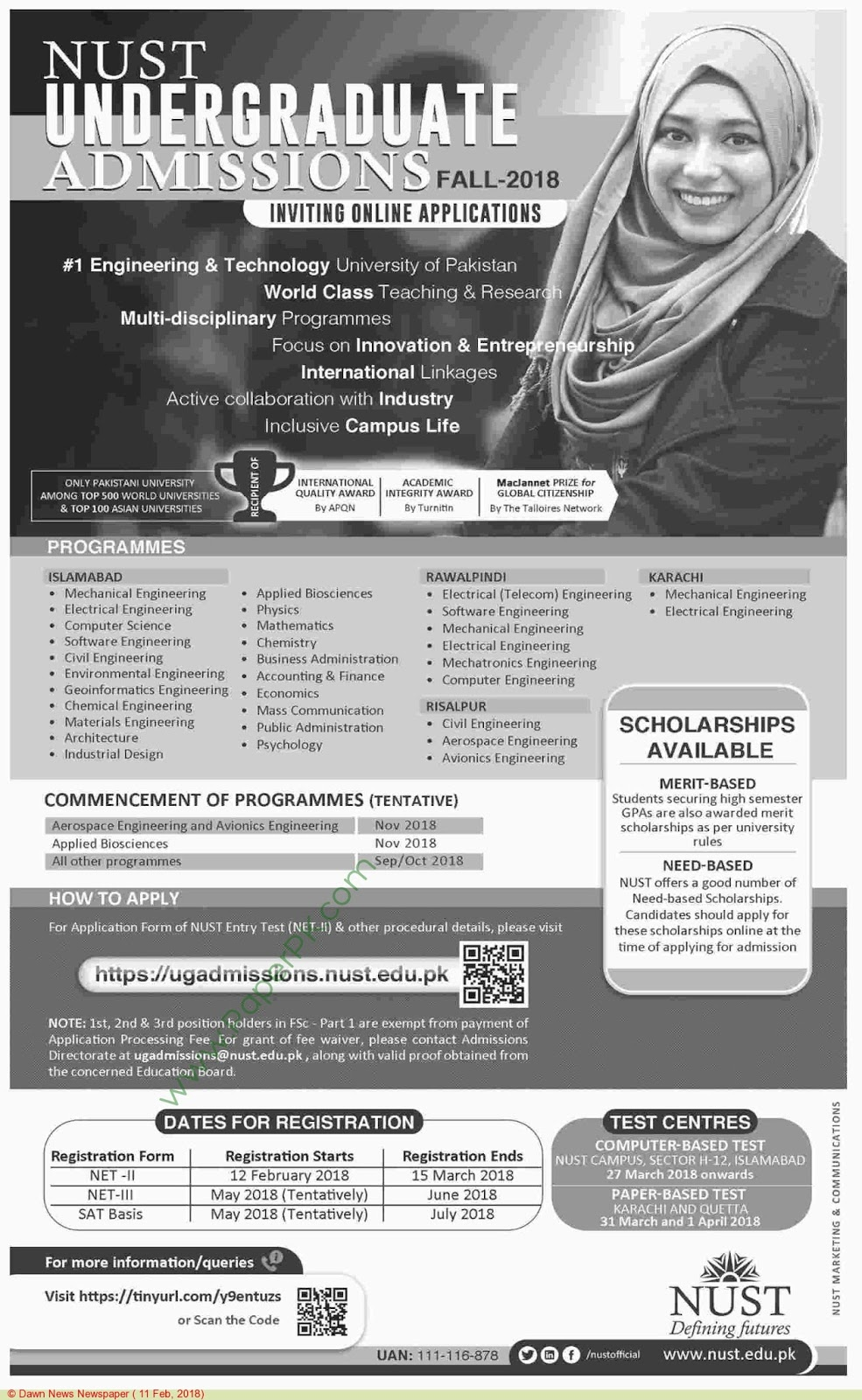 NUST University Admissions Open Fall 2018 - Computer Zila