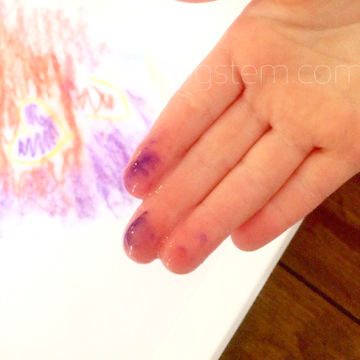 Messy fingers from experimenting with card making