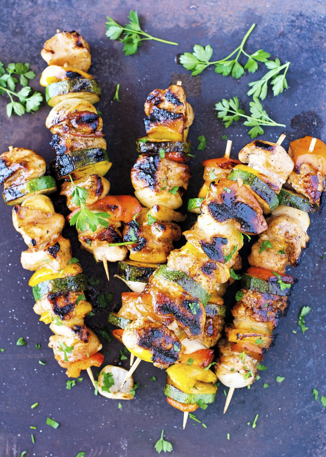 Honey Glazed Chicken and Veggie Kabobs