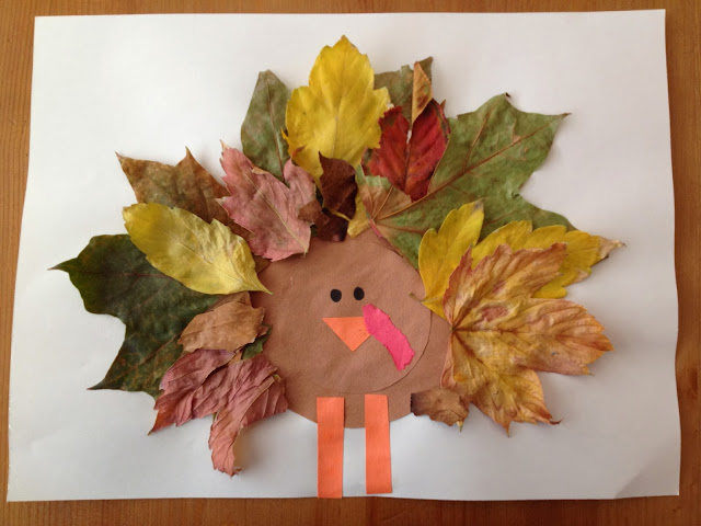thanksgiving craft: leaf turkey