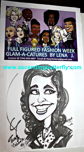 "Artist Lena Jackson creating full figured fashion week ""Glam-a-catures"" of Tracy Iglesias Editor in Chief of Ascending Butterfly at #FFFWEEK Celebrate My Size Expo & Community Town Hall"