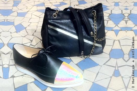 Soldes derbies Anne Thomas chaussures noires et irisé London