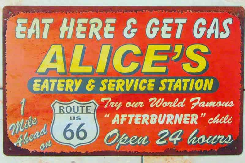 funny sign, route 66,gas,afterburner,chili