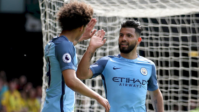 Manchester City Libas Watford 6 Gol, Kun Aguero Ukir Rekor Baru
