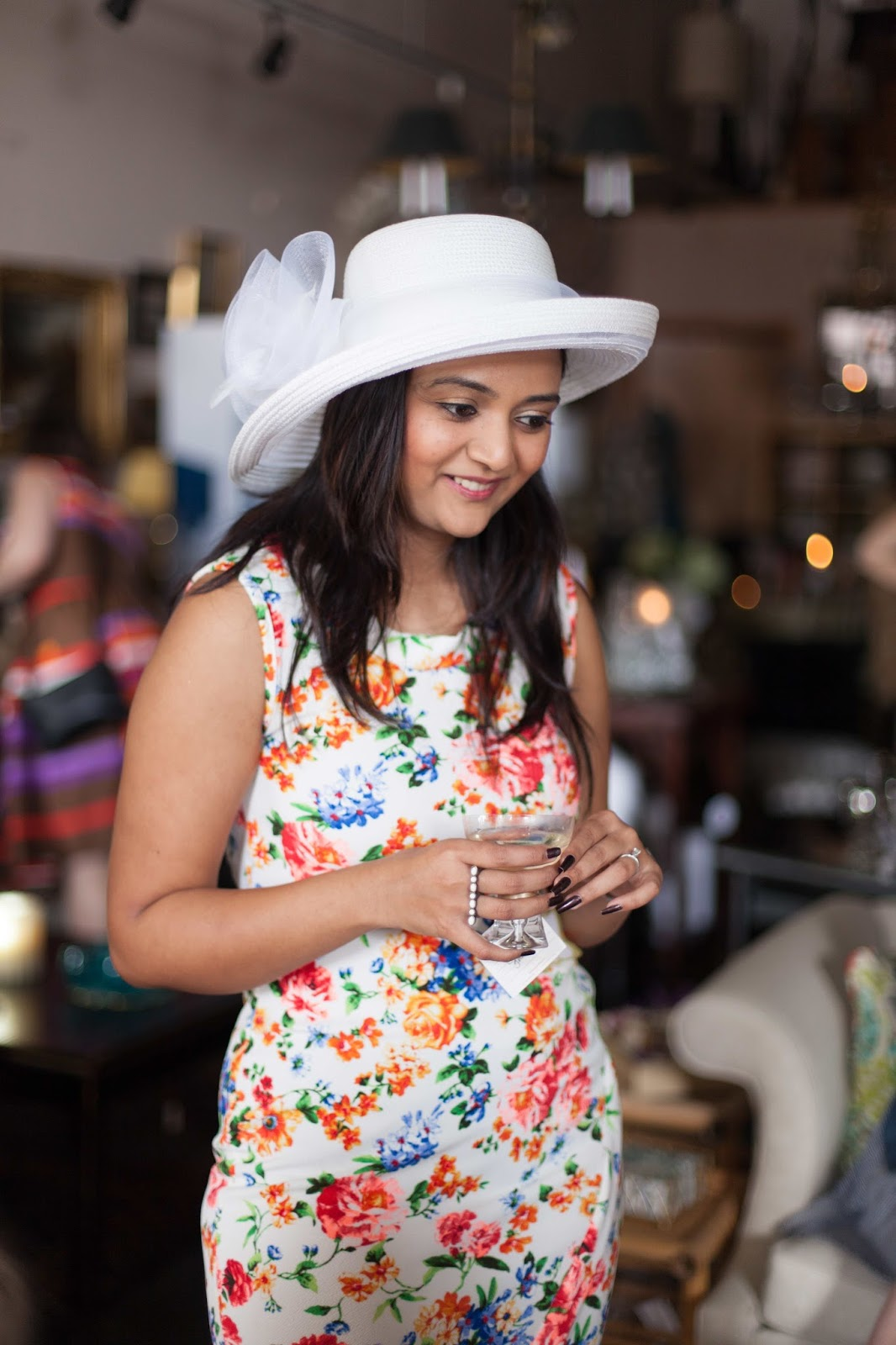 floral dress, srping fashion, ananya,beautiful  indian girl, white dress with white hat and white shoes, seattle fashion blogger