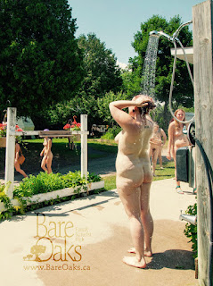 Showering outside at Bare Oaks Family Naturist Park