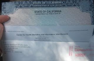 passenger's birth certificate