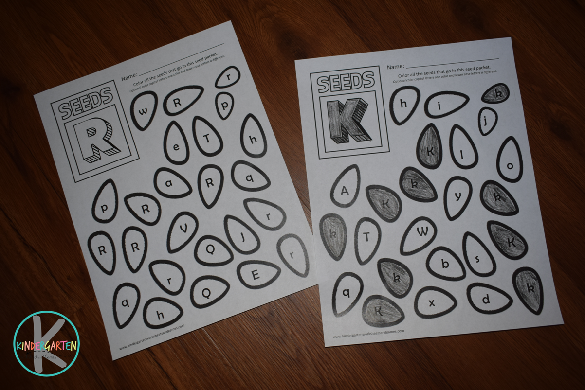 Kindergarten Worksheets And Games Free Seeds Find The