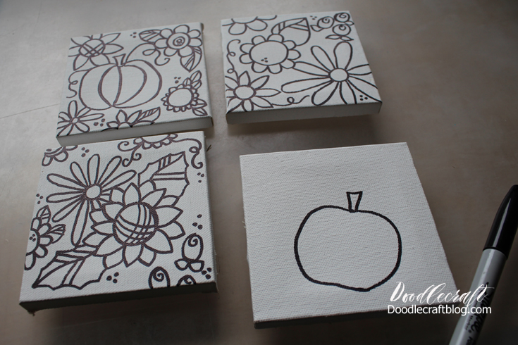 Doodlecraft canvas painting place settings i did flowers and pumpkins its easy and fun to just let yourself doodle solutioingenieria Gallery