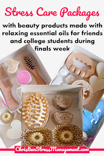 Stress care packages with beauty products made with relaxing essential oils for friends and college students during finals week