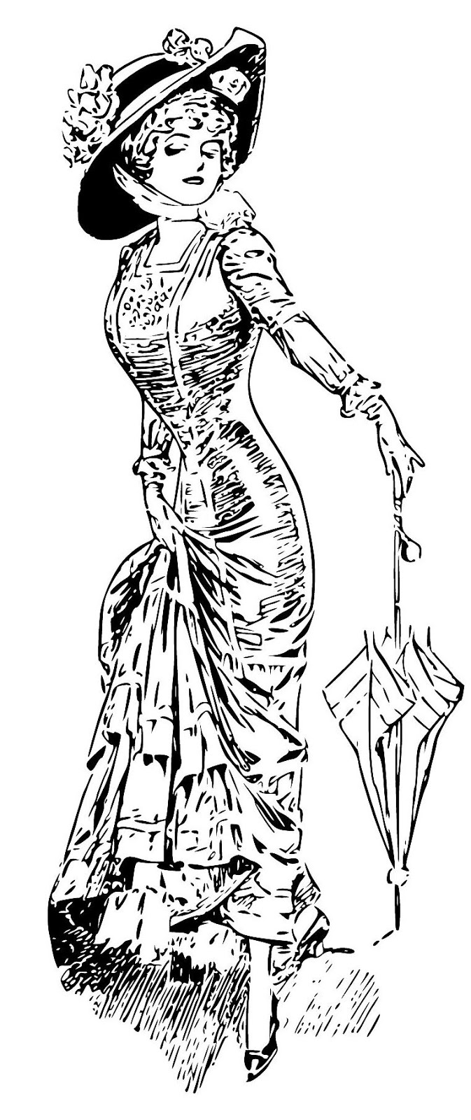 vintage dress coloring pages | A Look Through My Eyes: Create with TLC A Vintage Fashion ...