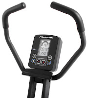 ProForm X-Bike Duo's Console, image, with large LCD screen displays RPM, speed, distance, time, calories. Bluetooth & iFit Ready