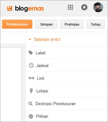 Uraian Lengkap Semua Setelan Entri Postingan Blogger