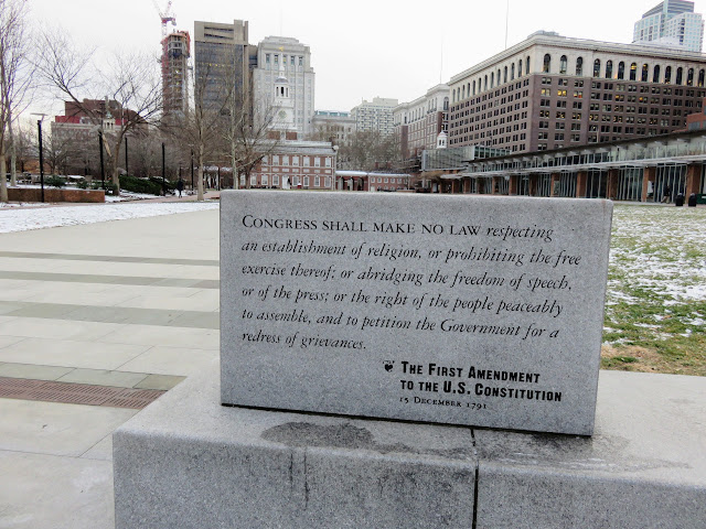 Plaque highlighting the 1st Amendment to the U.S. Constitution on Independence Mall in Philadelphia