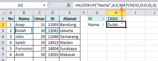 HLOOKUP MATCH cari data di kiri