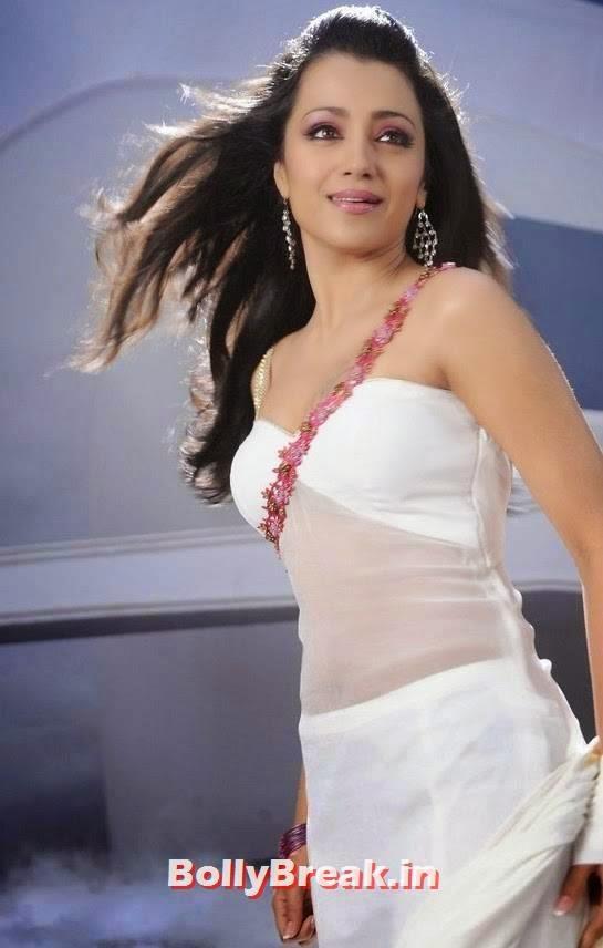 , Trisha white Saree HD Stills