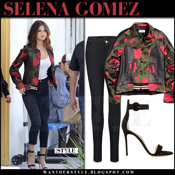Selena Gomez in green rose print coach jacket, skinny j brand maria jeans and sandals what she wore march 2017 street style