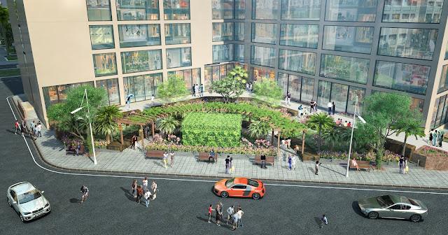 Khuôn viên sân vườn tại dự án chung cư Golden Field Mỹ Đình