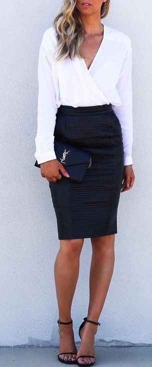 cute office style : white shirt + heels + black skirt