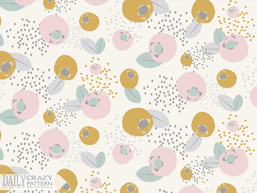 "Deliacate vintage print with berries for ""Daily Crazy Pattern"" project"