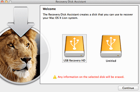 Using Recovery Disk Assistant to create Mac OS X recovery USB drive