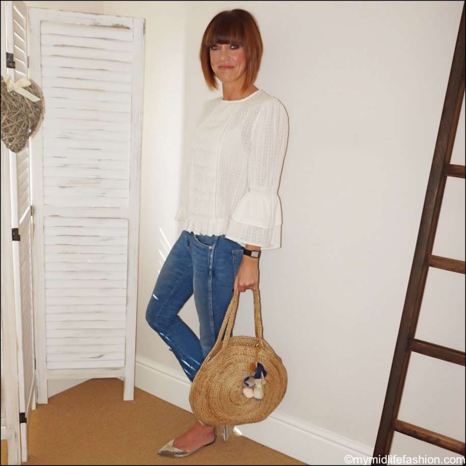 my midlife fashion, Ashiana Santorini round basket, Zara embroidered blouse, j crew metallic flats, j crew cropped kick flare jeans