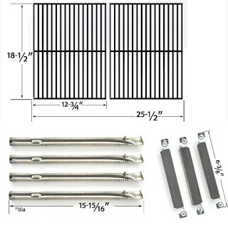 Repair Kit For Kenmore Sears 16644 Bbq Gas Grill Includes 4 Stainless Steel Burners, 3 Crossover Tubes And Cast Cooking Grates
