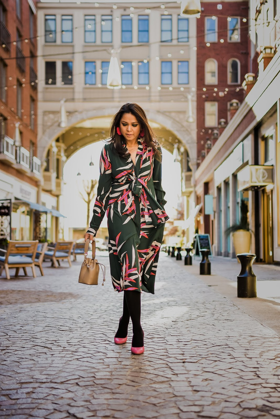 Diane Von Furstenburg hunter green wrap dress, winter fashion, bright colors, bethesda row, brights, street style, shoes of prey heels, myriad musings, saumya shiohare
