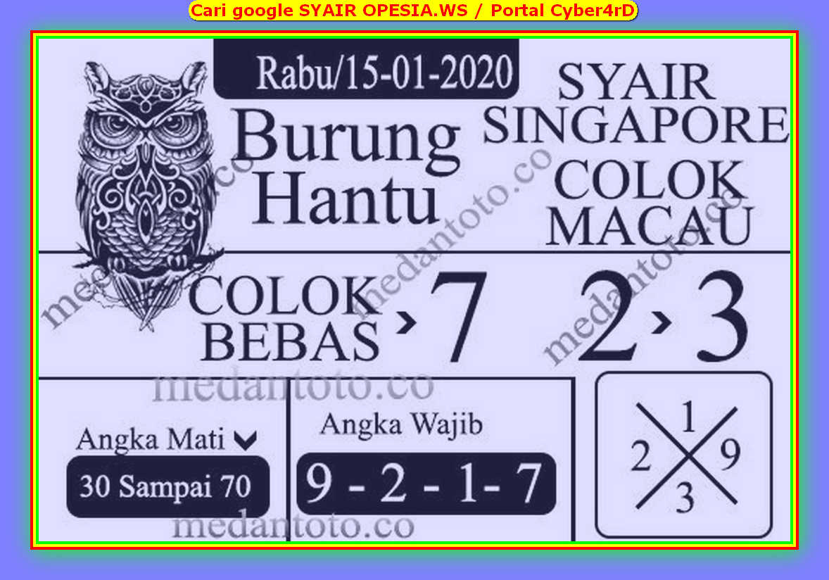 Kode syair Singapore Rabu 15 Januari 2020 144