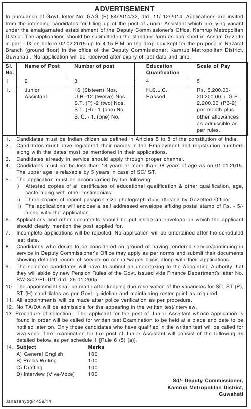 Recruitment of Junior Assistant Jobs by DC Office Assam