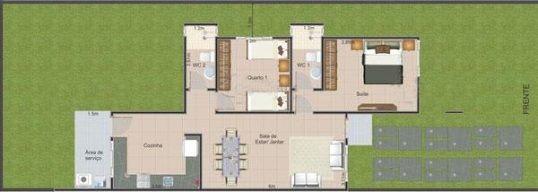 denah rumah minimalis sederhana 1 lantai modern
