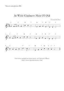 Tenor saxophone sheet music, As With Gladness Men Of Old