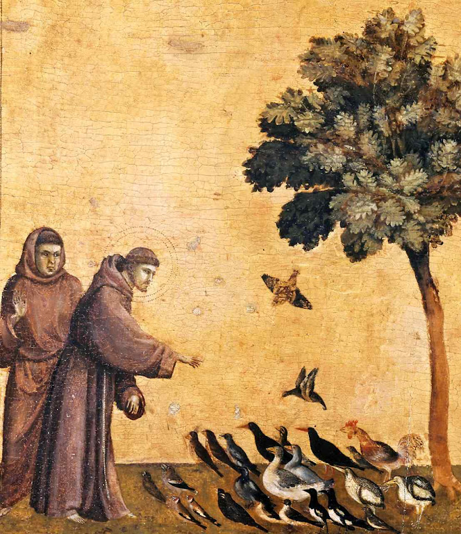 São Francisco de Assis prega aos passarinhos, Ambrogio Bondone Giotto  (1266-7 – 1337), Louvre, Paris.