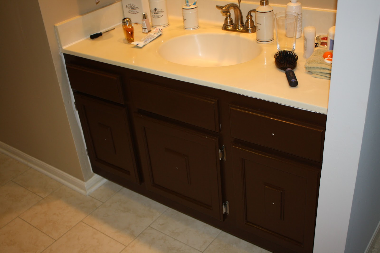 Sparks Fly: Painting Bathroom Cabinets (what not to do