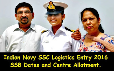 Indian Navy SSC Logistics Entry 2016 SSB Dates and Centre Allotment