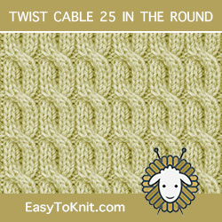 2/2/2 Left Purl Cross Twist Cable, easy to knit in the round