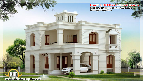 2950 square feet, 4 bhk flat roof home design