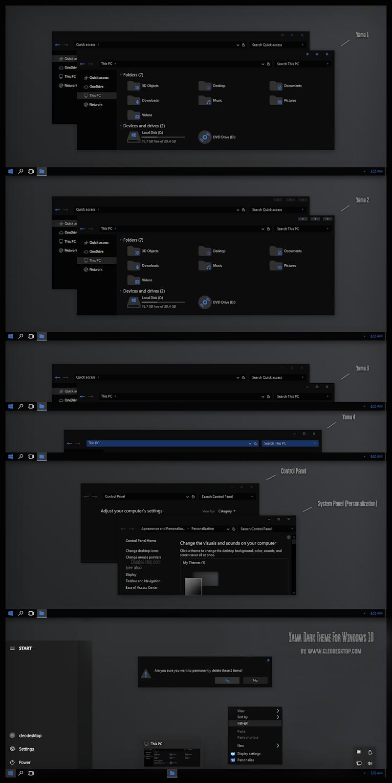 Yama Dark Theme Windows10 November 2019 Update 1909