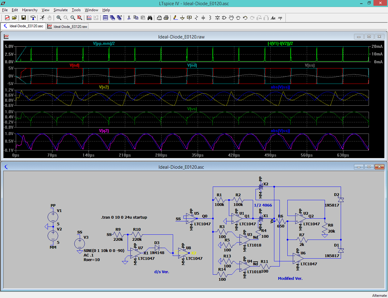 Chips Tech Testing Couple Of Rectifier Circuits From Datasheets Voltage Circuit Recently I Noticed Something While Using A Variant The Ideal Diode As Shown In Low Op Amps Simulation Test So Am About