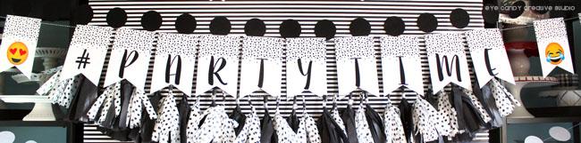 partytime banner, birthday banner, emoji birthday, polka dots, emoji
