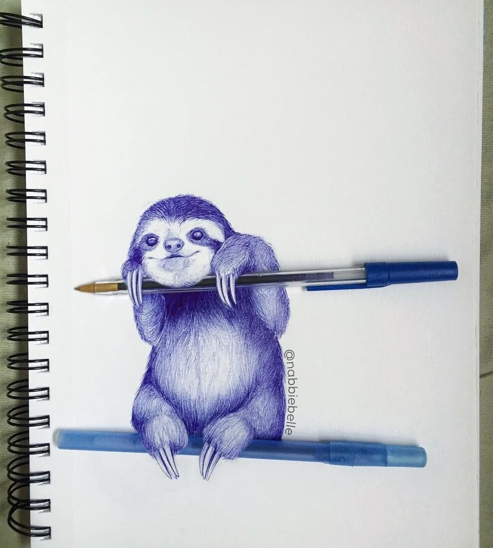 07-Sloth-Annabelle-Marie-Inked-Animals-Drawn-in-Ballpoint-Pen-www-designstack-co